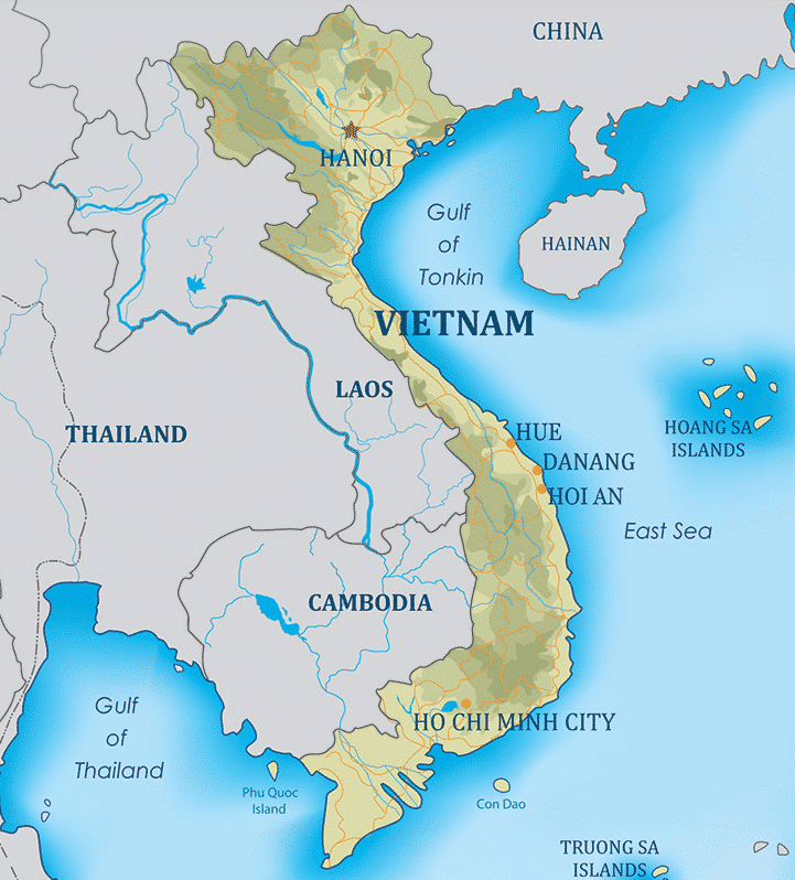 Kort over Vietnam - Hvor ligger Vietnam?